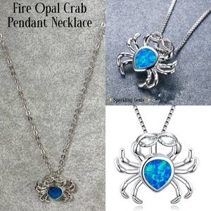 Nautical Tiny Fire Opal Sand Crab Pendant Necklace